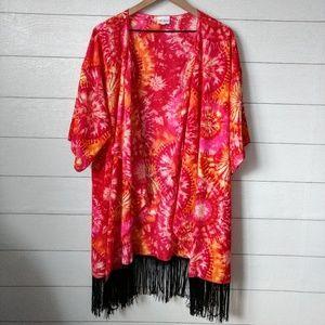 Lularoe Tie-Dye Monroe Fringe Kimono L